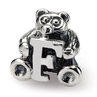 Sterling Silver Reflections Kids Letter F Bead (3.5mm Diameter Hole)