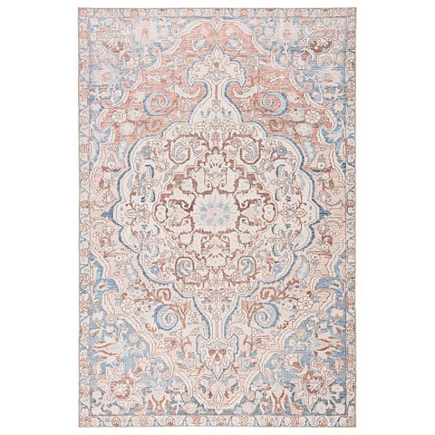Gracewood Hollow Dadzie Indoor/Outdoor Blue and Light Pink Medallion Area Rug