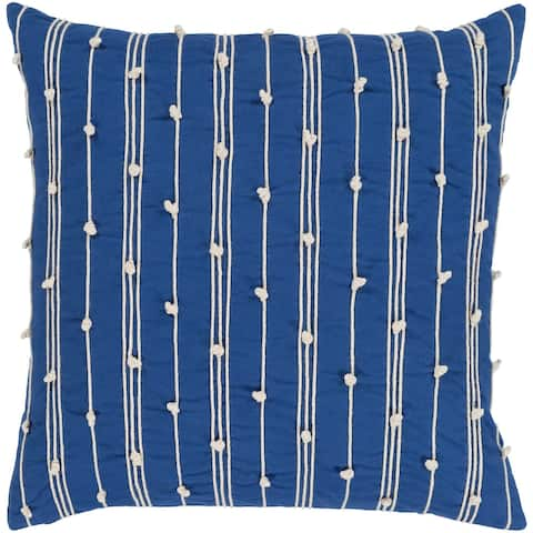 Raya Coastal Striped Dark Blue Feather Down or Poly Filled Throw Pillow 20-inch