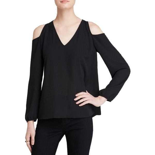 Aqua Womens Blouse Sheer Cold Shoulder