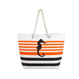 Swan Comfort Striped Canvas Beach Bag Sea Horse & Anchor Desing - Tote Bag - Medium (More options available)