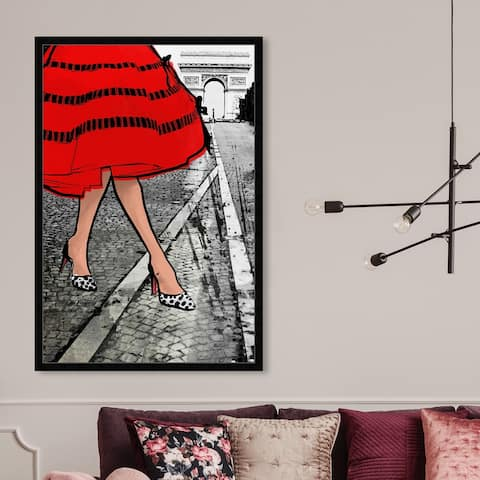 Oliver Gal 'Autumn in Paris' Fashion and Glam Wall Art Framed Print Outfits - Red, Gray