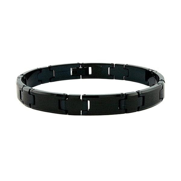 Black Plated Tungsten Carbide Men's Link Bracelet - 9 Inches