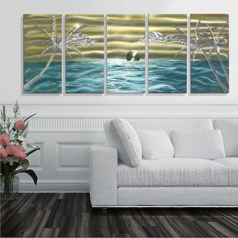 Statements2000 Tropical Metal Wall Art Beach Ocean Painting Decor by Jon Allen - Castaway Again