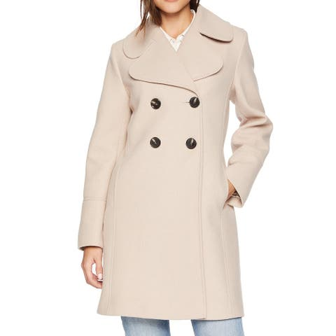 Kensie Women's Coat Classic Beige Size Medium M Trench Double Breasted