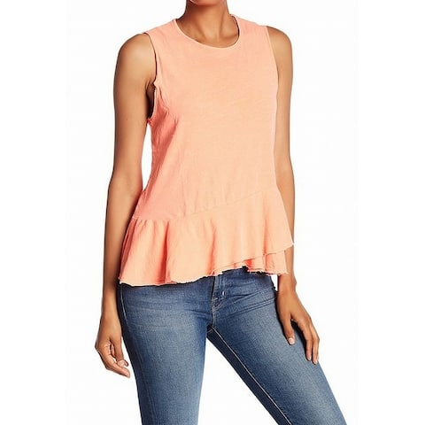 Sundry Womens Top Orange Size 2 US Medium M Scoop-Neck Peplum Tank