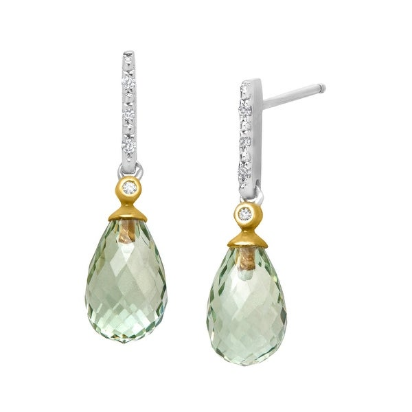 5 ct Green Amethyst Drop Earrings with Diamonds in Sterling Silver & 10K Gold