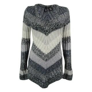 Ultra Flirt Juniors' V-Neck Striped Tunic Sweater