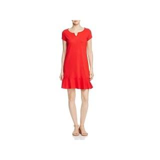 Three Dots Womens Flounce Dress Split Neckline Short Sleeve (2 options available)