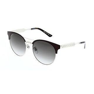 Gucci Womens Oval Sunglasses, Burgundy/Gold/Grey, Os - burgundy/gold/grey