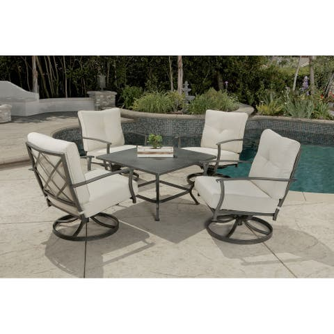 Marlowe 5pc Chat Set with Fully Cushioned Swivel Lounge Chairs