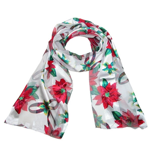 CTM® Women's Christmas Poinsettia Holiday Scarf - One size