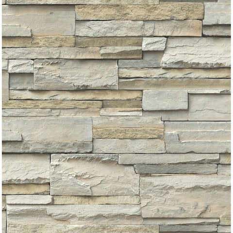 Brewster NU2675 Faux Stacked Slate Stone Wall Vinyl Peel and Stick - Neutral