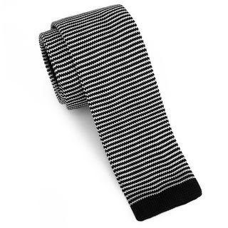 "Men's 2"" Knit Stripped Black Tie"