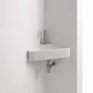 "WS Bath Collections Normal 04W  22-1/16"" Ceramic Wall Mounted Bathroom Sink with 1 Hole Drilled and Overflow from the Normal"