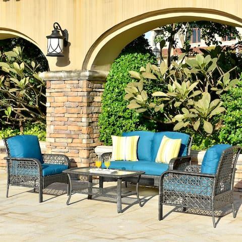 Ovios 4-piece Water-Resistant Wicker Deep Seating Outdoor Sofa Set
