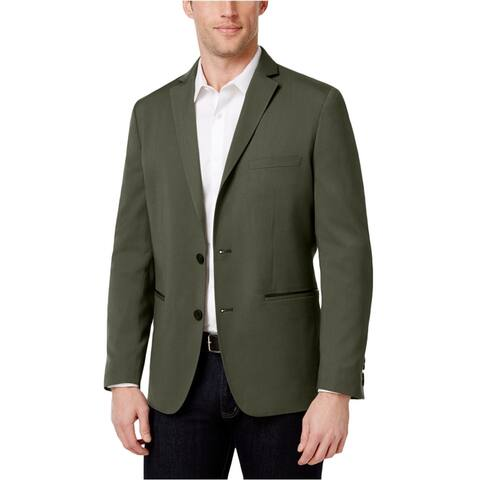 I-N-C Mens Faux Leather Two Button Blazer Jacket