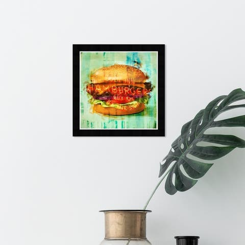 Wynwood Studio 'Cozy Hamburgers' Food and Cuisine Wall Art Framed Print Fast Food - Green, Brown