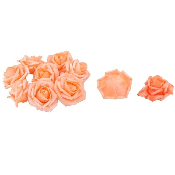 Wedding Party Foam Craft Artificial Rose Flower Heads Buds DIY Decor Orange 10pcs