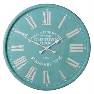 "35.25"" Art Deco Seafoam Green with White Roman Numerals Round Wall Clock"