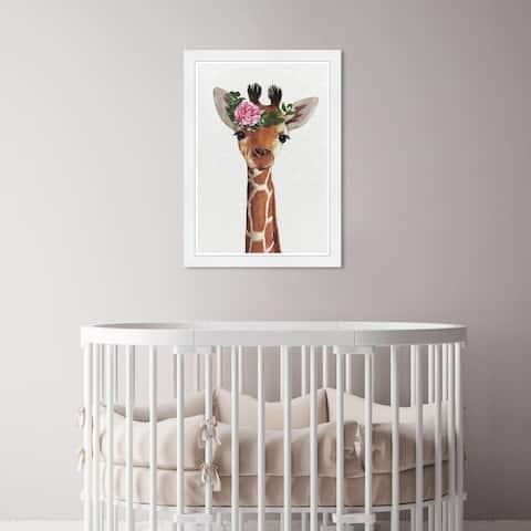Olivia's Easel 'Baby Giraffe' Kids Wall Art Framed Print Brown, White