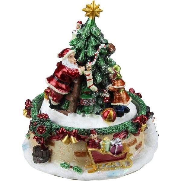 "6"" Animated Santa Claus and Christmas Tree Winter Scene Rotating Music Box"