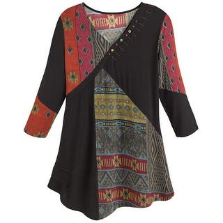 Women's Tunic Top- Red and Black Tapestry Print Patchwork Shirt (Option: 1x)|https://ak1.ostkcdn.com/images/products/is/images/direct/93d24aedccc9e05bc79b74ff08b4dca740408ec1/Women%27s-Tunic-Top--Red-And-Black-Tapestry-Print-Patchwork-Shirt.jpg?impolicy=medium