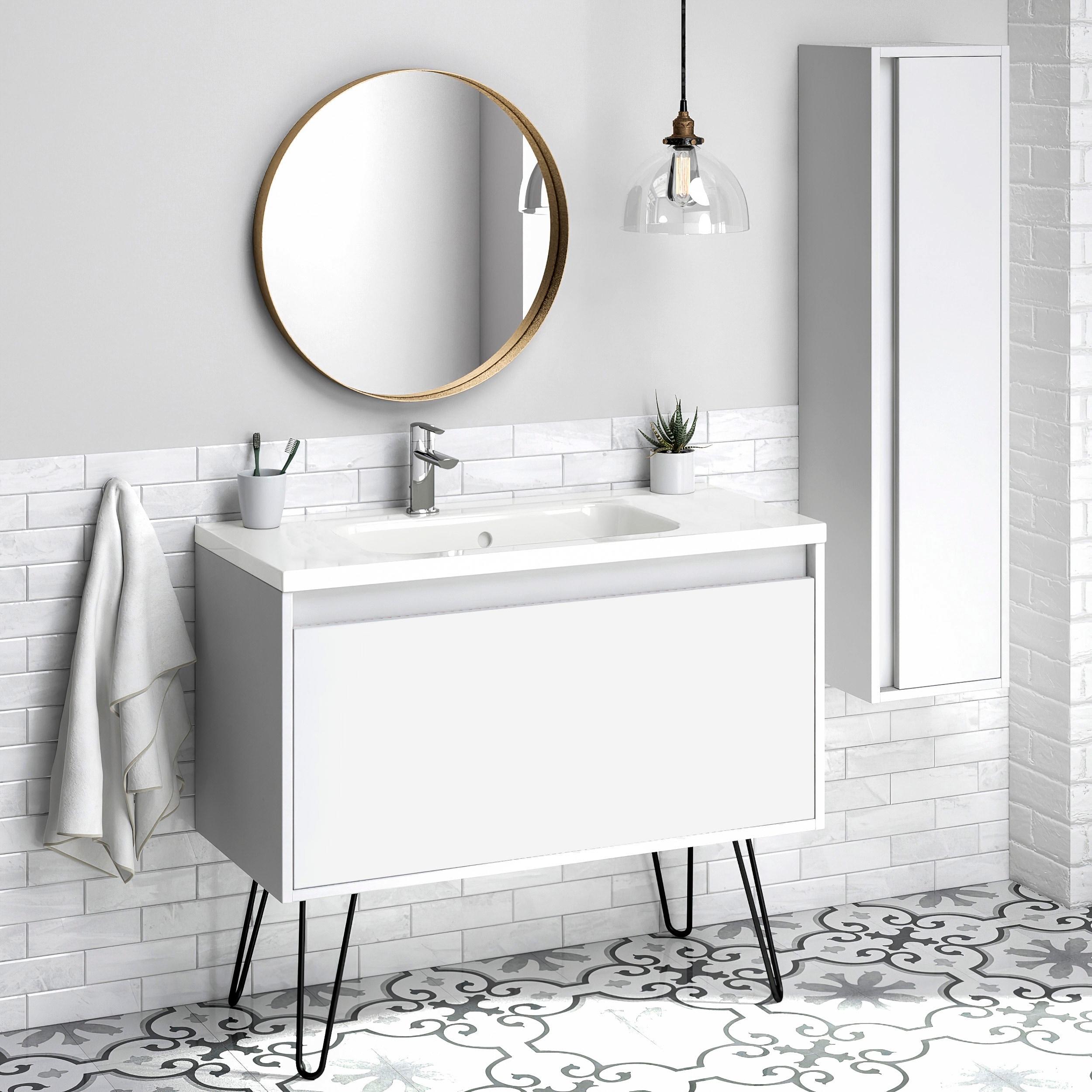 40 Bathroom Vanity Cabinet Ceramic Sink Legs Tribeca Fs W 40 X H 35 X D 18 In Rhd White Overstock 31644219