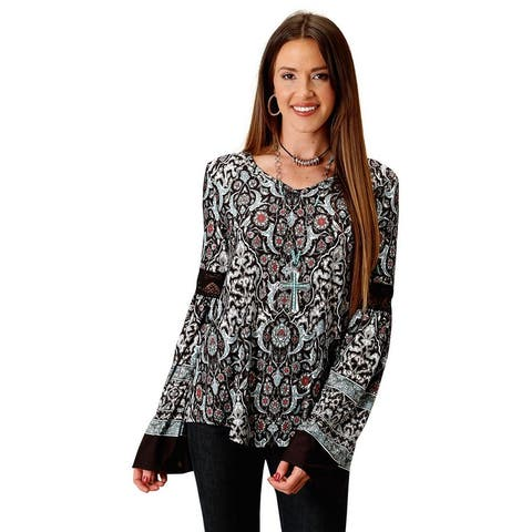 Roper Western Shirt Women Long Sleeve Floral Black