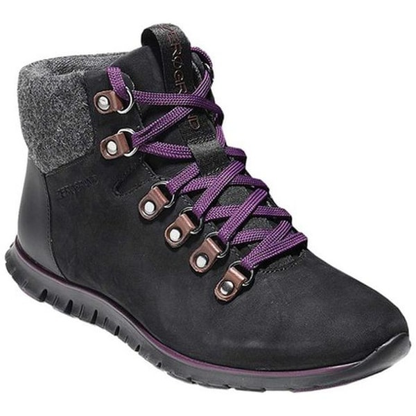 7bc70ec353b Shop Cole Haan Women's ZEROGRAND Hiker Boot Black/Elderberry Leather ...