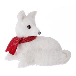 "12.5"" Country Cabin Glittered Standing White Fox with Red Scarf Christmas Table Top Decoration"