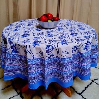 Handmade Royal Floral Block Print Round Tablecloth Rectangular Cotton Blue Square