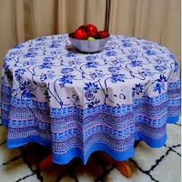 Handmade Royal Floral Block Print Round Tablecloth Rectangular Cotton Blue Square