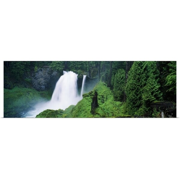 """""""Waterfall in lush green forest"""" Poster Print"""