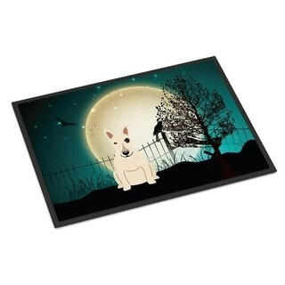 Carolines Treasures BB2328JMAT Halloween Scary Bull Terrier White Indoor or Outdoor Mat 24 x 0.25 x 36 in.