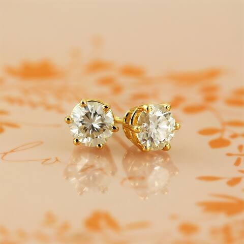 Moissanite by Auriya 14k Gold 1ct TGW Stud Earrings - 5 mm, Screw-Backs