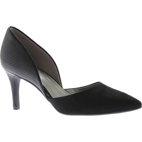 Bandolino Women's Grenow D'Orsay Pump Black Faux Suede/Synthetic Reptile