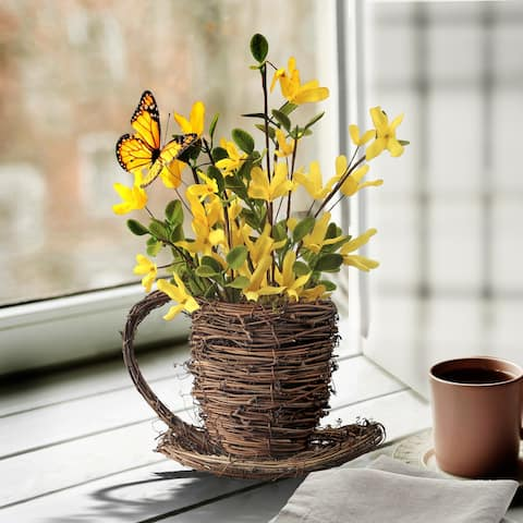 """Forsythia & Butterfly In Teacup 12.5"""""""