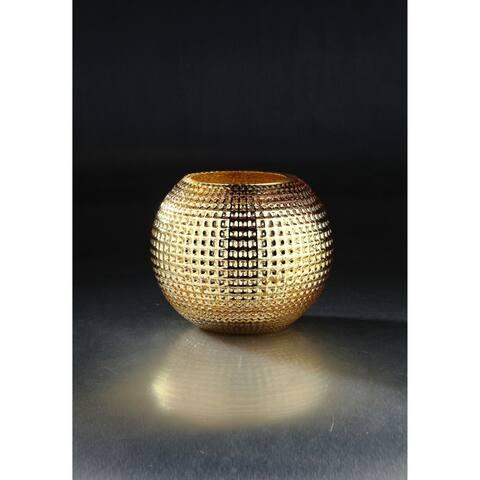 "8.5"" Golden Colored Embossed Pattern Glass Bowl Vase"