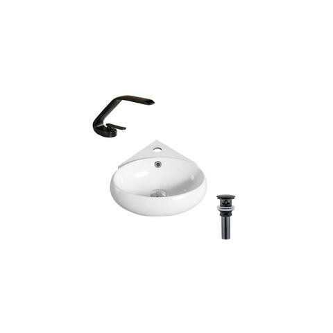 """Hazara 13.7""""W CUPC certified Oval Ceramic Wall Mount Bathroom Vessel Sink Set in White with Black Faucet and Drain - HZR-1312"""