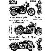"""Classic Motorcycle - Darkroom Door Cling Stamps 7""""X5"""""""