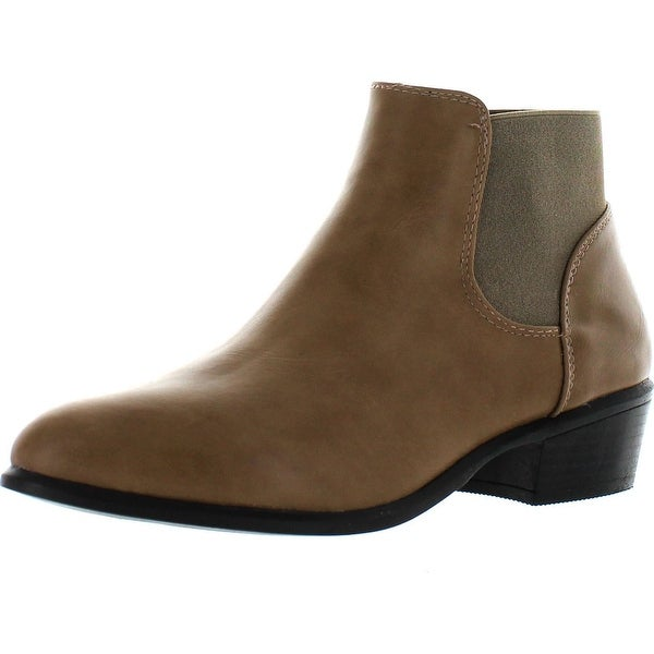 Dbdk Catorce-1 Women Elastic Side Zipper Almond Toe Stacked Chunky Heel Booties - taupe