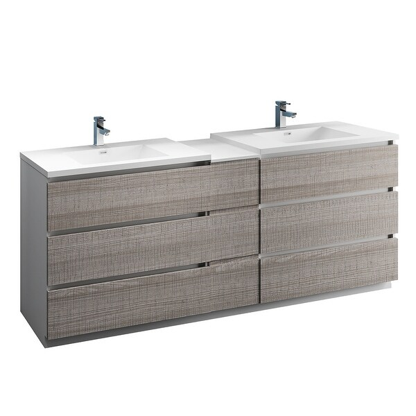 """Fresca FCB93-361236-D-I Senza 84"""" Free Standing Double Basin Vanity Set with MDF Cabinet and Acrylic Vanity Top"""