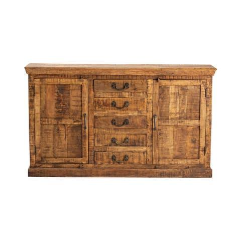 Bengal Manor Natural Mango Wood 5 drawer 2 door Sideboard - 69 x 14 x 40