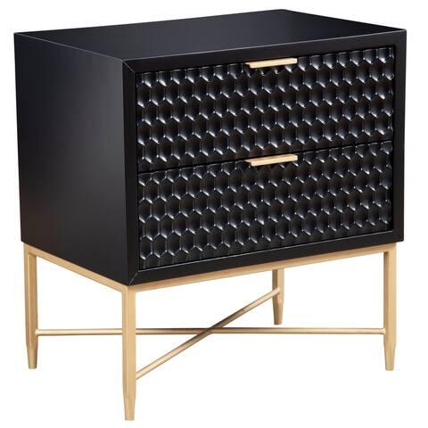 Origins by Alpine Black Pearl Wood 2-drawer Nightstand