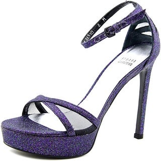 Stuart Weitzman Tizyou Women Open Toe Canvas Purple Platform Heel