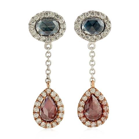 18k White Gold Diamond Dangle Earrings Designer Jewelry