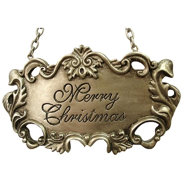 Merry Christmas Silver Wine Label Christmas Ornament