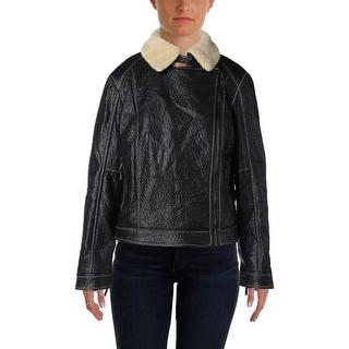 Studio M Womens Motorcycle Jacket Asymmetric Faux Shearling
