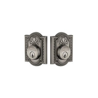 "Grandeur PARPAR_DBLCYL_234 Parthenon Solid Brass Rose Double Cylinder Keyed Entry Deadbolt with 2-3/4"" Backset"